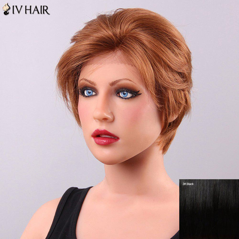 Fluffy Siv Hair Inclined Bang Women's Lace Front Human Hair Wig - BLACK
