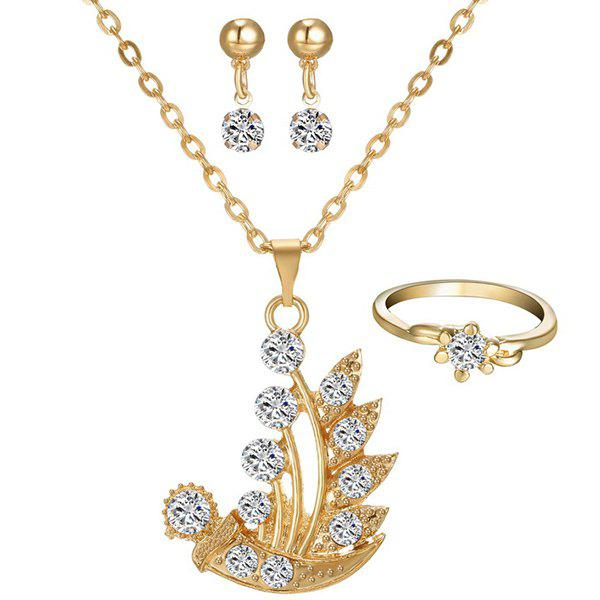 A Suit of Grass Ball Rhinestone Necklace Ring and Earrings - GOLDEN
