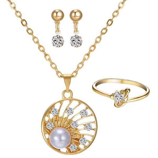 A Suit of Faux Pearl Rhinestone Round Necklace Ring and Earrings - GOLDEN