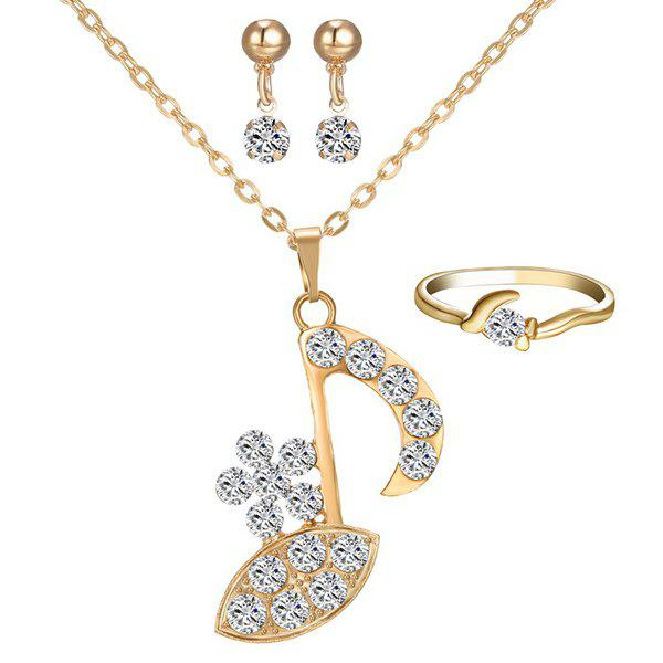 Rhinestone Music Note Necklace Ring and Earrings - GOLDEN