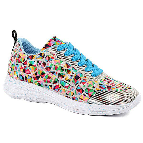 Fashionable Lace-Up and Multicolor Design Women's Athletic Shoes - COLORMIX 39