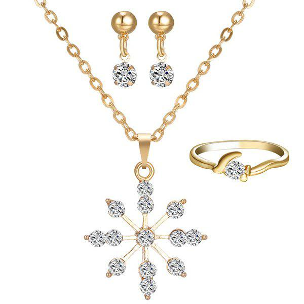 A Suit of Gorgeous Rhinestone Dandelion Necklace Ring and Earrings For Women
