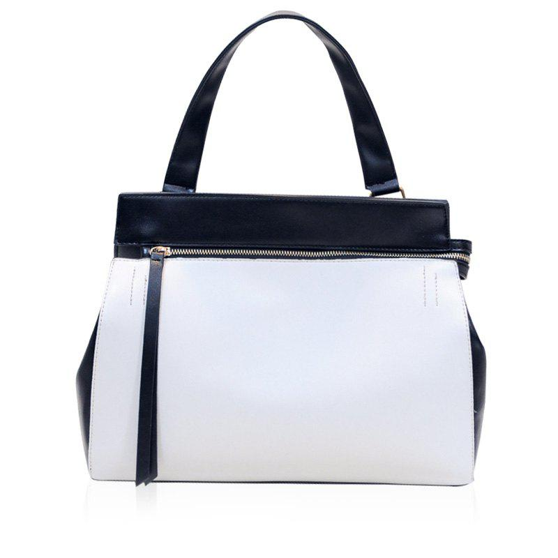 Leisure Color Block and Zip Design Women's Tote Bag - WHITE