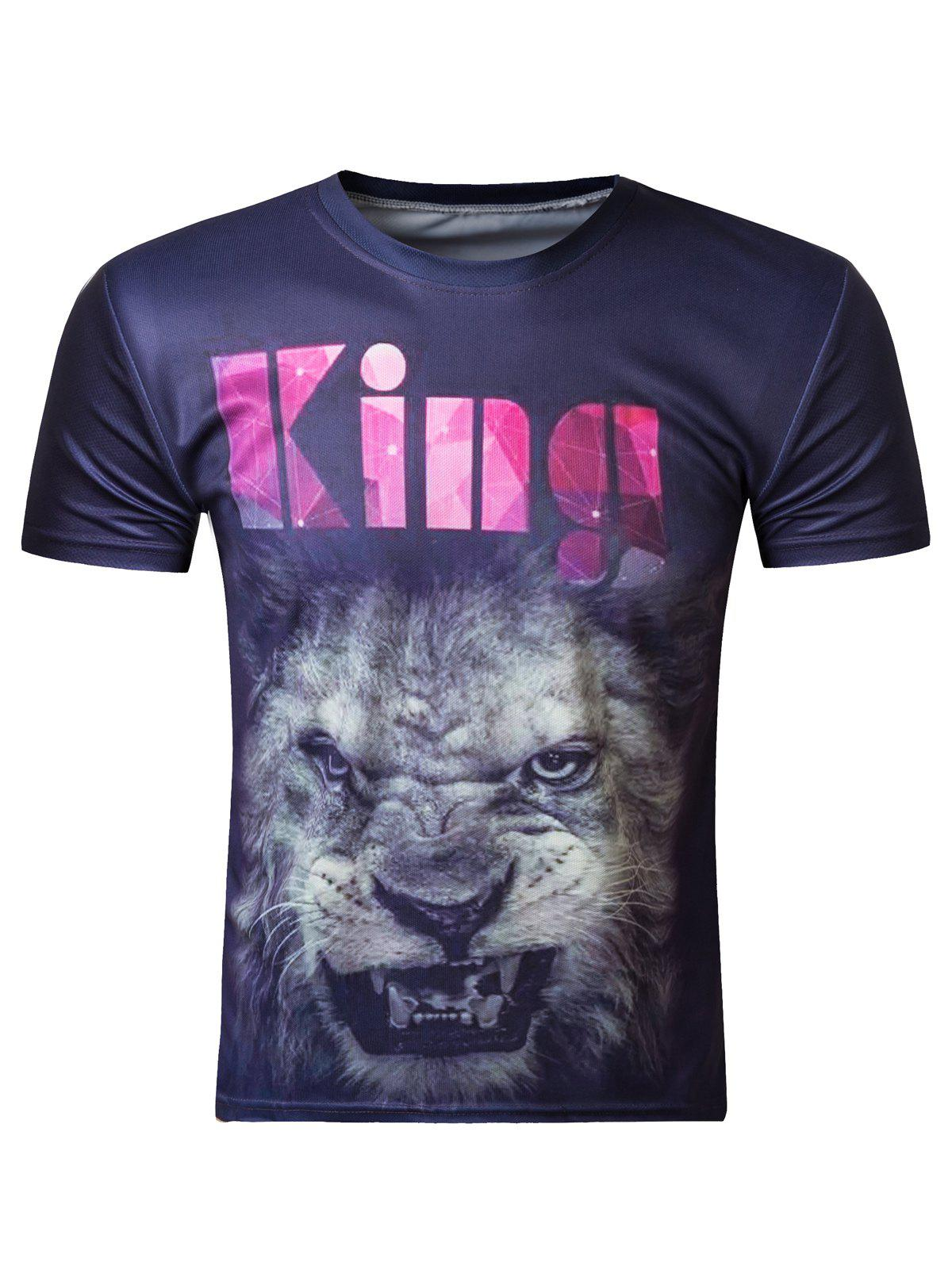 Modish 3D Round Neck Lion Head Print Short Sleeve T-Shirt For Men - COLORMIX 2XL