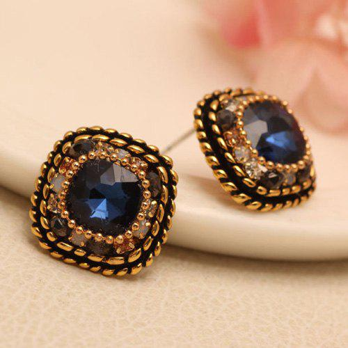 Pair of Vintage Style Geometric Faux Gem Earrings For Women -  BLUE