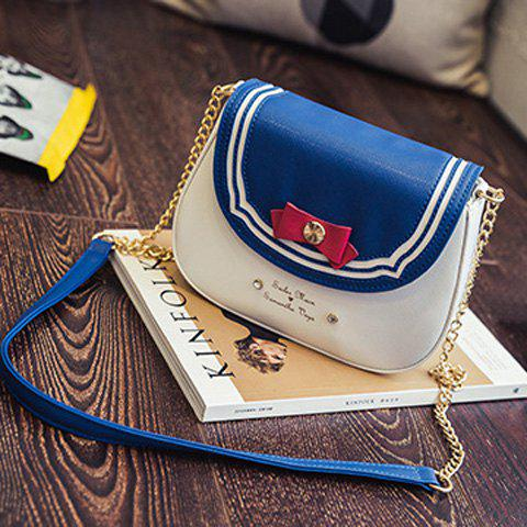 Sweet Color Block and Bow Design Women's Crossbody Bag - BLUE