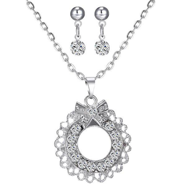A Suit of Gorgeous Rhinestone Bowknot Circle Necklace and Earrings For Women