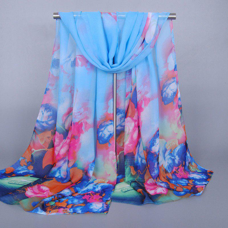 Cool Summer Flowers and Vase Pattern Sunscreen Chiffon Scarf For Women - LIGHT BLUE