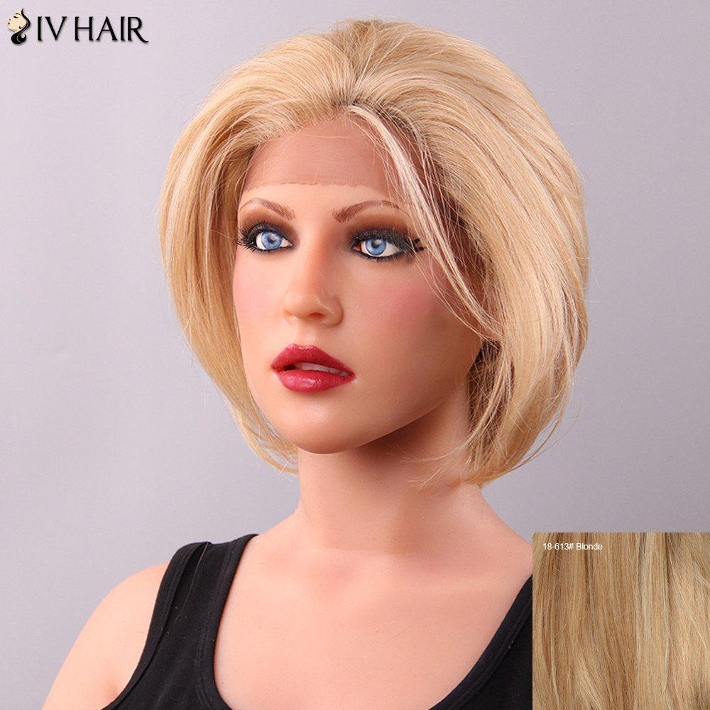 Shaggy Siv Hair Straight Short Human Hair Lace Front Wig For Women - BLONDE