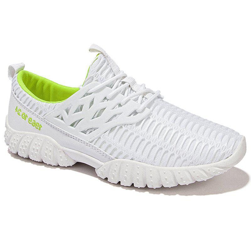 Fashionable Splicing and Breathable Design Men's Athletic Shoes - WHITE 41