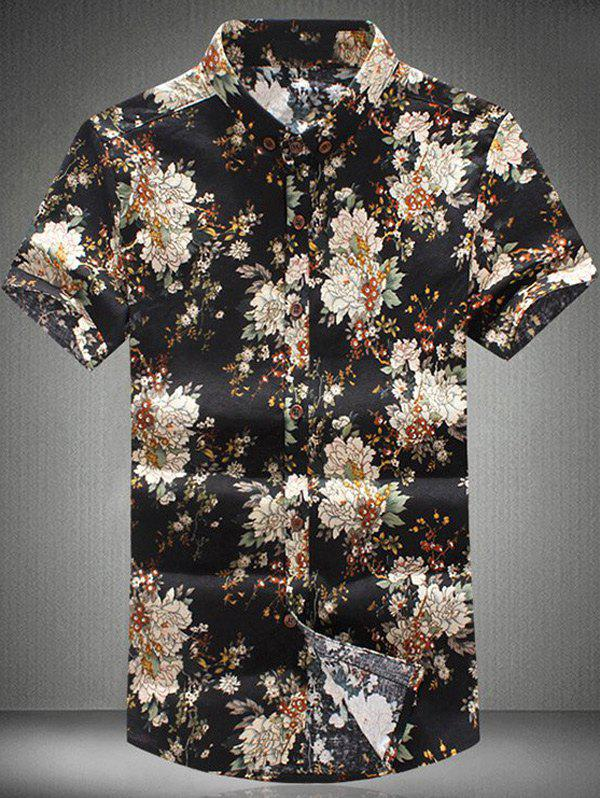 Casual Floral Printing Short Sleeves Plus Size Men's Button-Down Shirt - COLORMIX XL