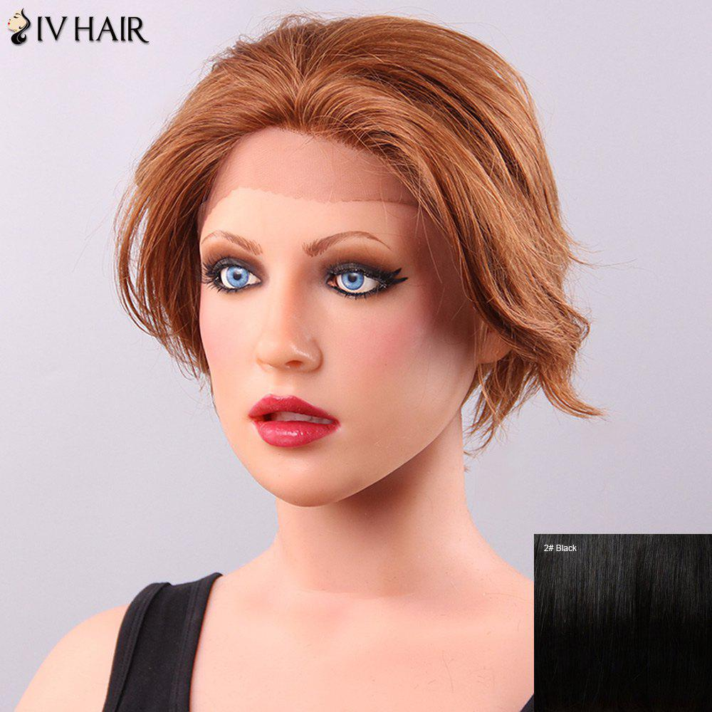 Trendy Siv Hair Straight Short Human Hair Lace Front Wig For Women - BLACK