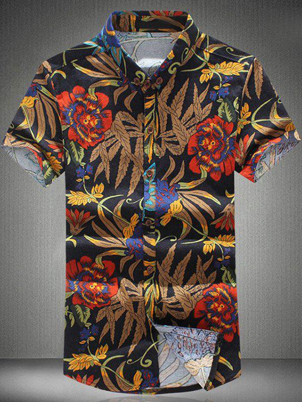 Plus Size Flower Print Turn-down Collar Short Sleeves Men's Shirt - COLORMIX 4XL