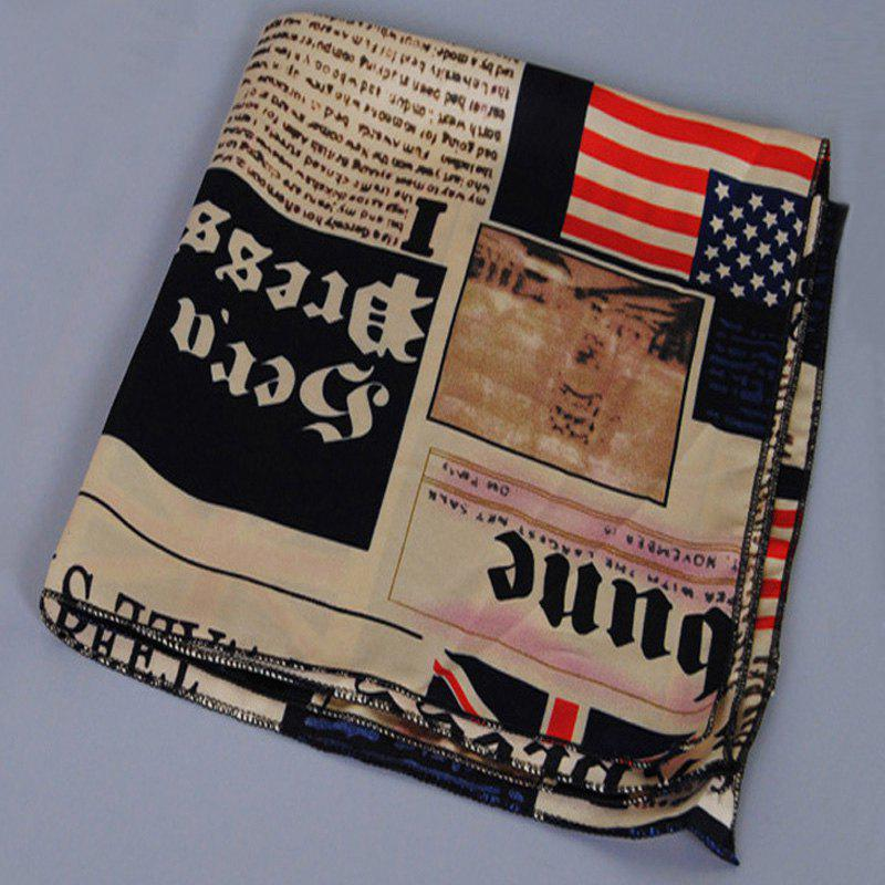 Chic Flags and Newspaper Print Women's Soft Bandana Scarf - LIGHT KHAKI