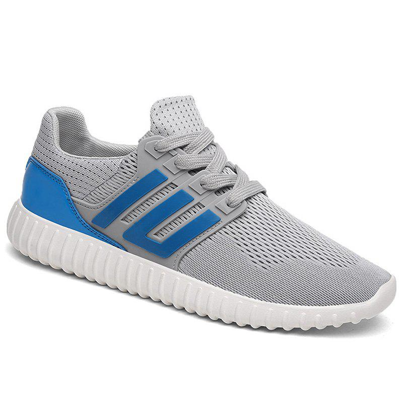 Trendy Lace-Up and Mesh Design Men's Athletic Shoes - BLUE/GRAY 43