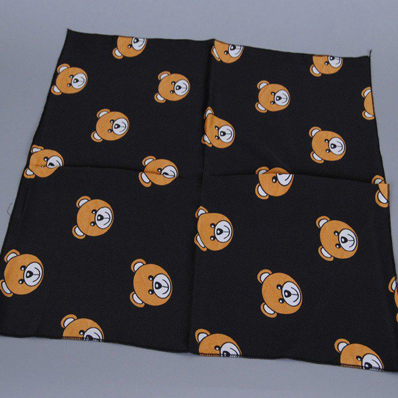 Chic Cartoon Toy Bear Cub Head Print Women's Black Soft Bandana Scarf - BLACK