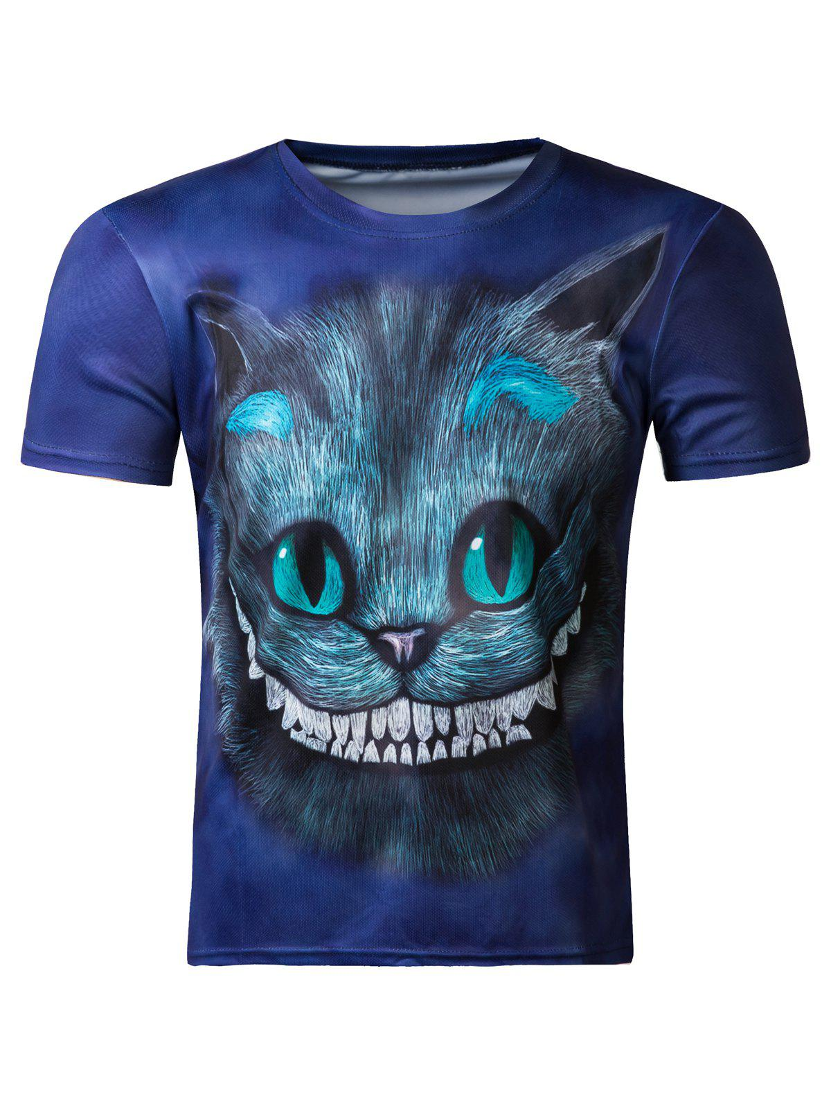 Cute 3D Round Neck Kitten Print Short Sleeve T-Shirt For Men - COLORMIX 2XL