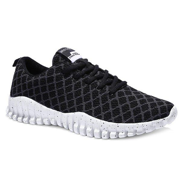 Leisure Checked and Mesh Design Men's Athletic Shoes - BLACK 44