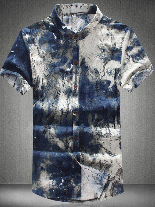 Funny Ink Painting Pattern Shirt Collar Short Sleeves Men's Plus Size Button-Down Shirt - COLORMIX 6XL
