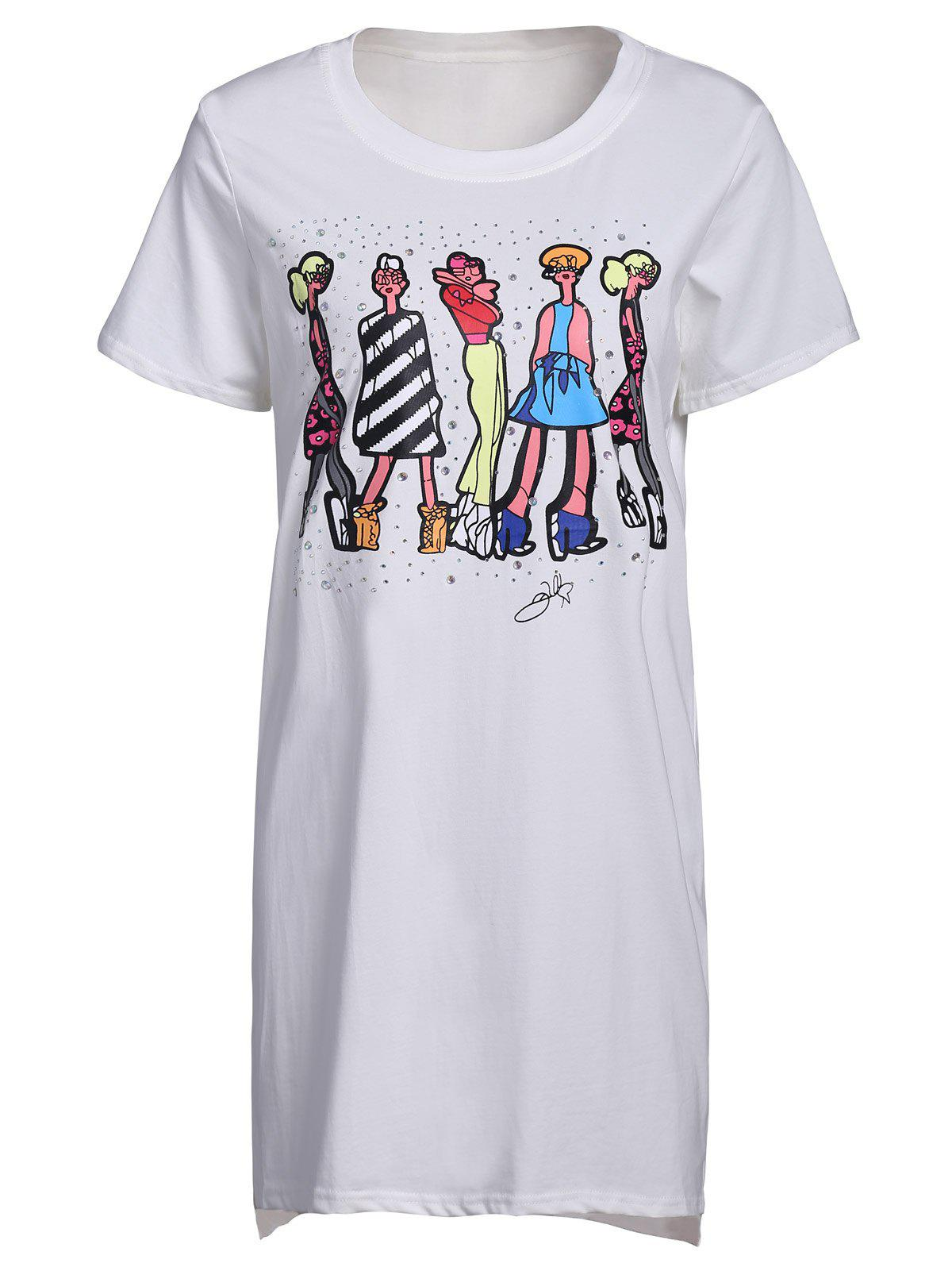 Cute Women's Round Neck Short Sleeve Cartoon Print Long T-Shirt - WHITE 2XL