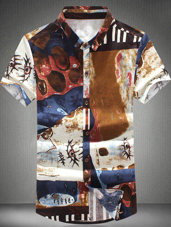 Vogue Funny Ink Painting Pattern Short Sleeves Plus Size Men's Button-Down Shirt - COLORMIX 6XL