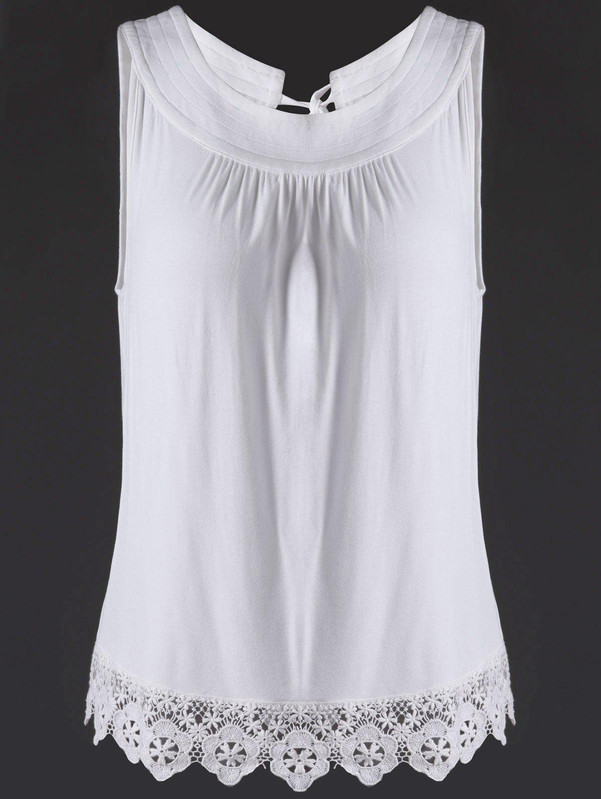 Trendy Jewel Neck Lace Splice Cut Out Tank Top For Women - WHITE XL