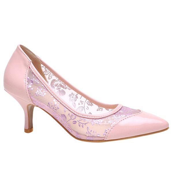 Trendy Embroidery and Solid Colour Design Women's Pumps - PINK 38