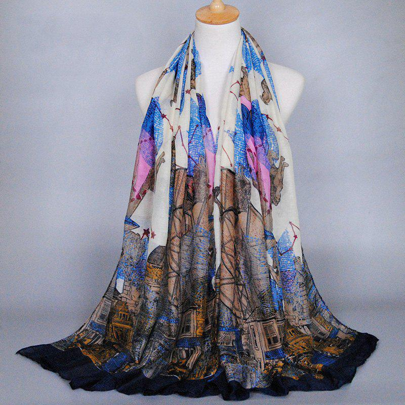 Chic Retro Buildings and Constellation Pattern Women's Shawl Wrap Scarf