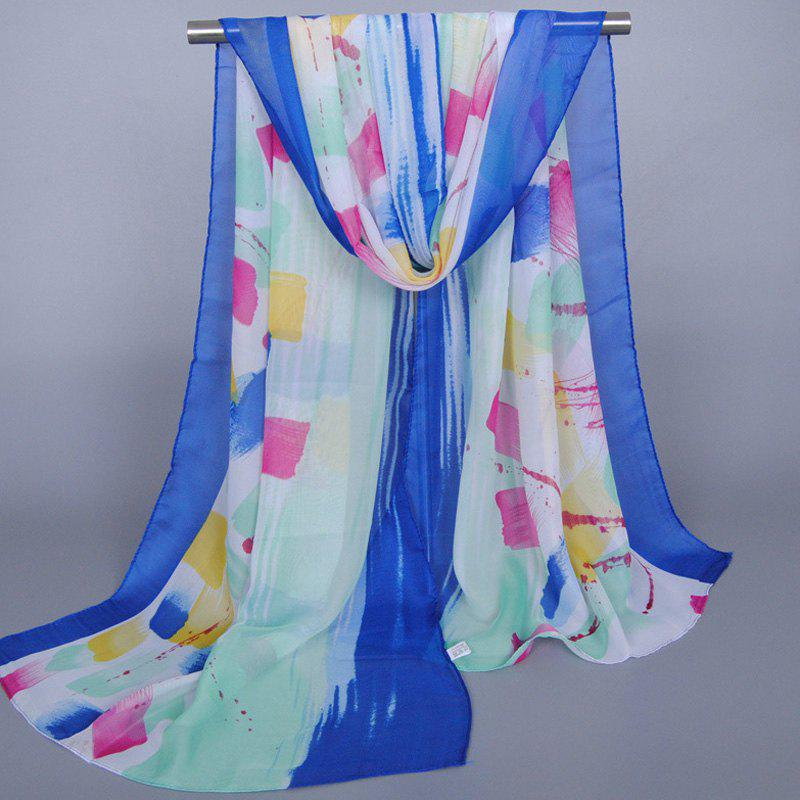 Chic Bright Color Splash-Ink Pattern Sunscreen Women's Shawl Wrap Chiffon Scarf - SAPPHIRE BLUE