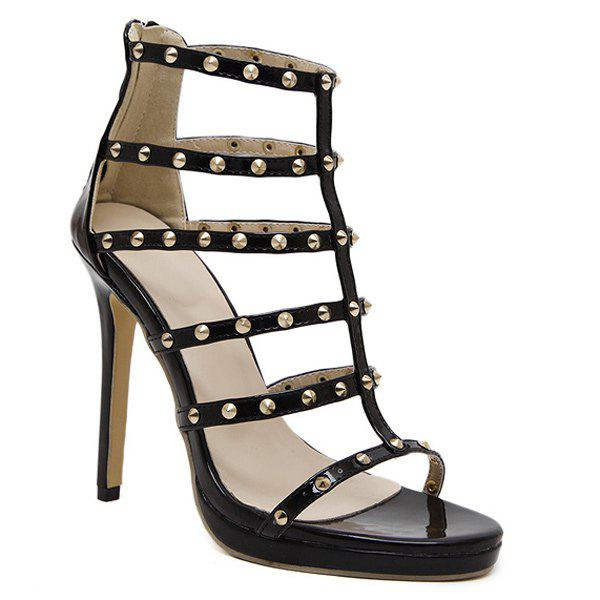 Rome Stiletto Heel and Rivet Design Women's Sandals - 38 BLACK