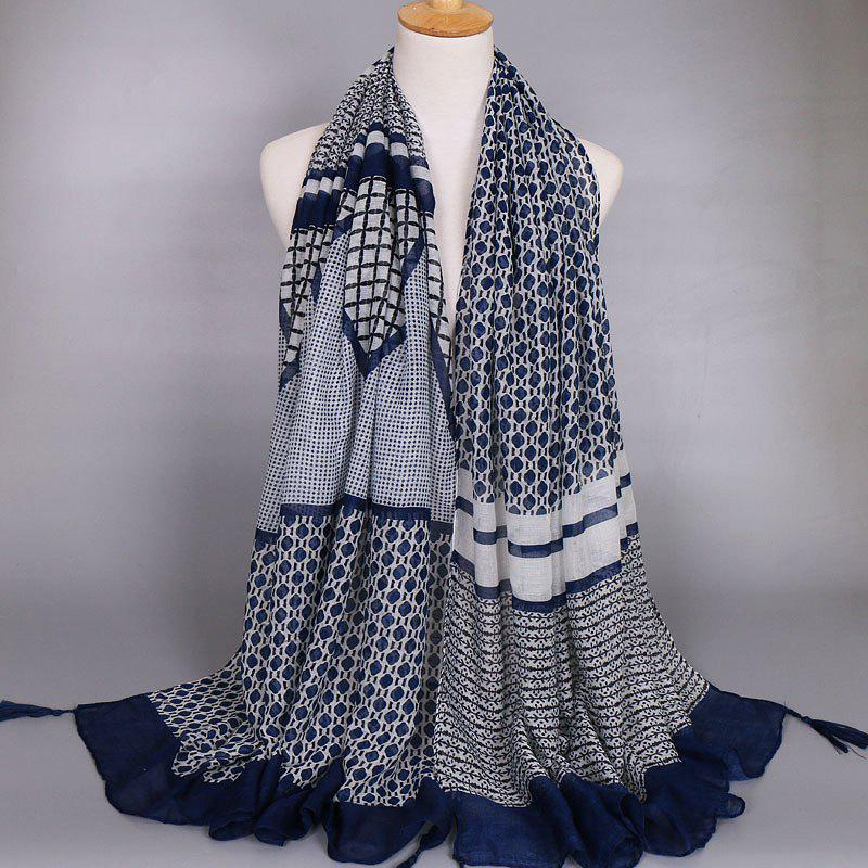 Chic Wavy Stripe and Plaid Pattern Tassel Pendant Sunscreen Women's Shawl Wrap Scarf - PURPLISH BLUE