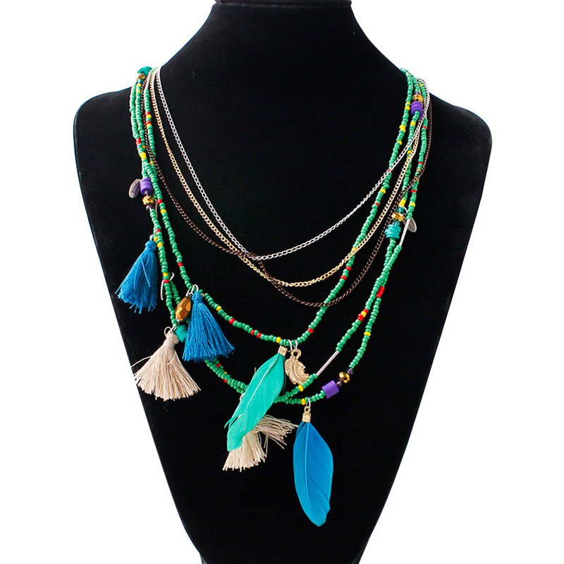 Graceful Multilayered Feather Bead Alloy Tassel Necklace For Women - GREEN