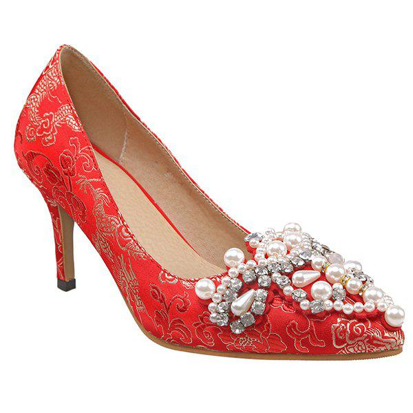 Fashionable Faux Pearls and Embroidery Design Women's Pumps - RED 37