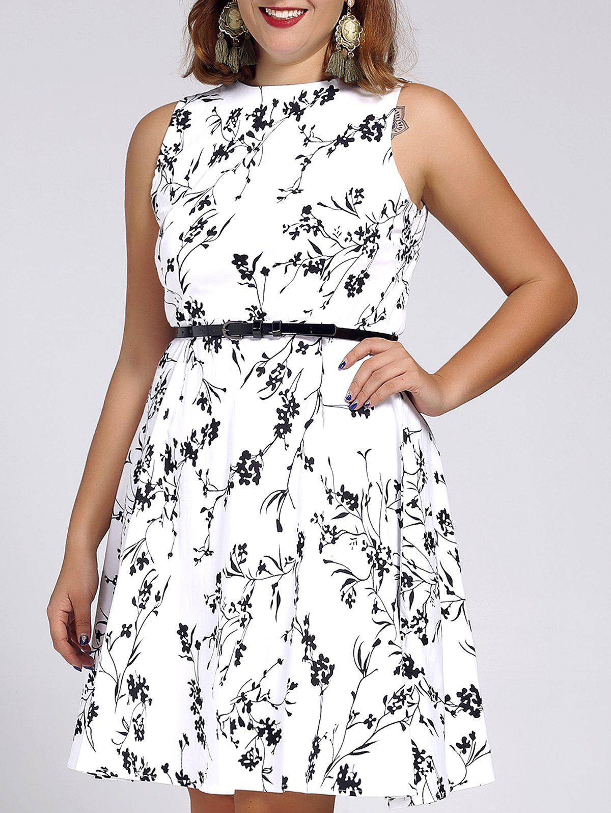 Stylish Round Neck Sleeveless Floral Print Dress For Women - WHITE 4XL