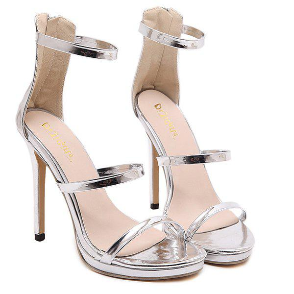 Simple Stiletto Heel and Ankle Design Women's Sandals - SILVER 38