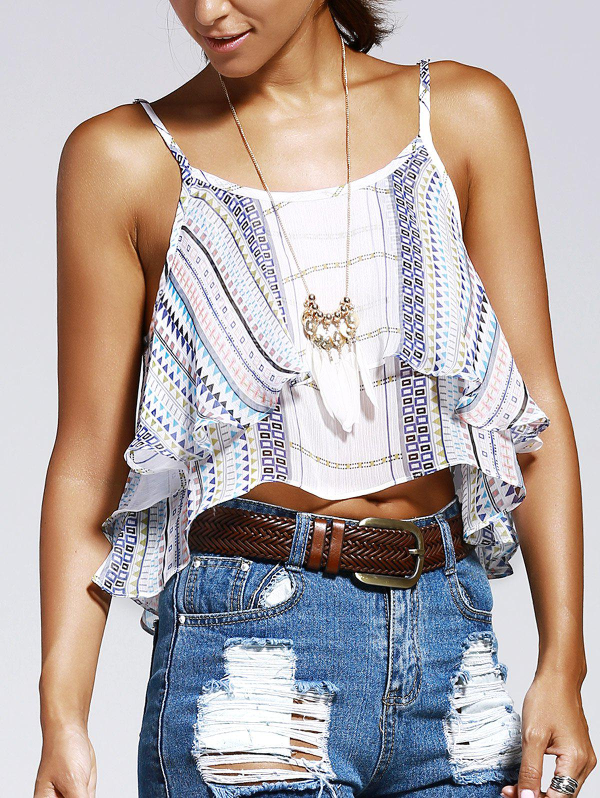 Sweet Woman's Wave Printing Condole Belt Small Top