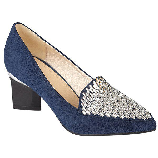 Casual Suede and Strange Style Design Women's Pumps - BLUE 42