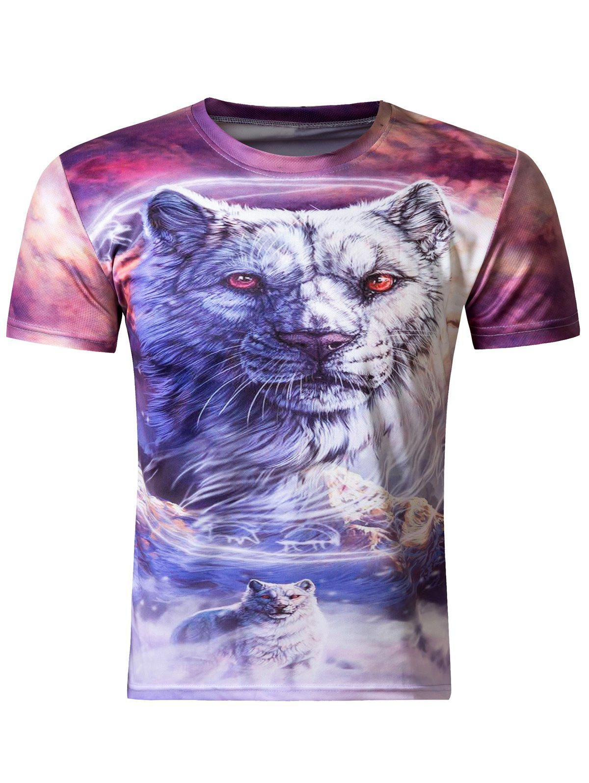 Stylish 3D Round Neck White Tiger Print Short Sleeve T-Shirt For Men - COLORMIX XL
