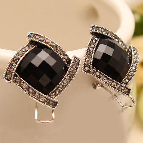 Pair of Gorgeous Rhinestoned Quadrate Stud Earrings For Women