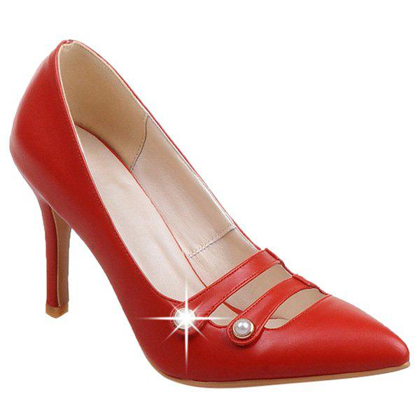 Stylish Hollow Out and Faux Pearls Design Women's Pumps - RED 42
