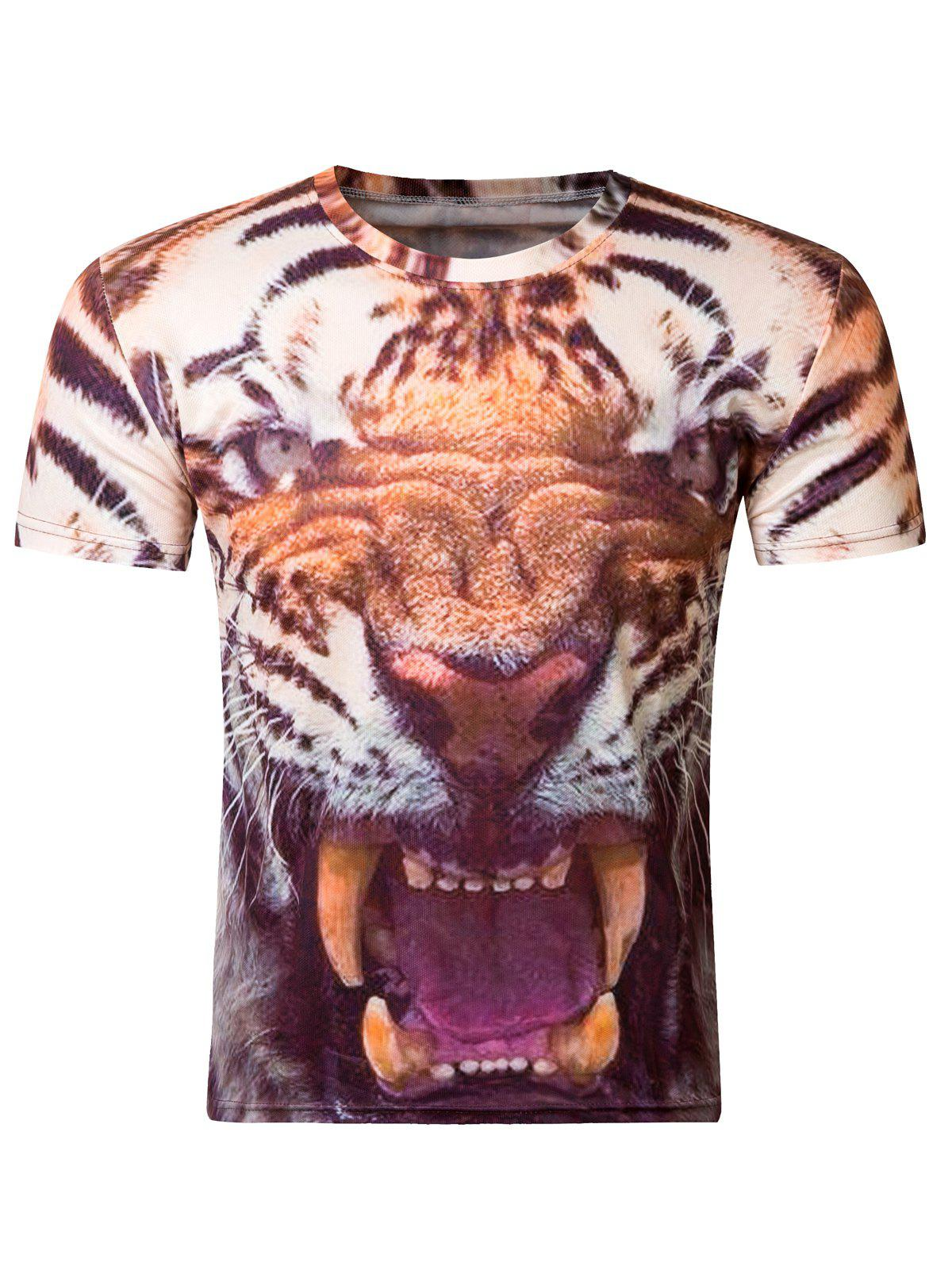 Modish 3D Round Neck Fierce Tiger Print Short Sleeve T-Shirt For Men - COLORMIX 2XL