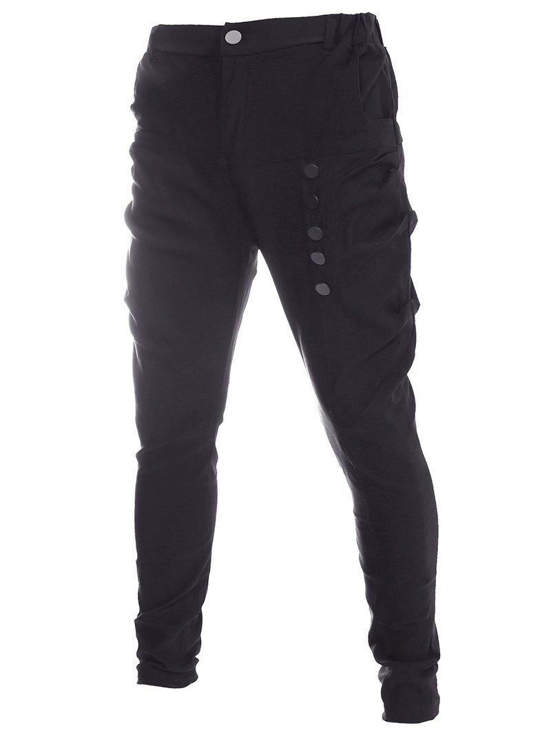 Men's Button Design Solid Color Straight Legs Pants - BLACK 2XL