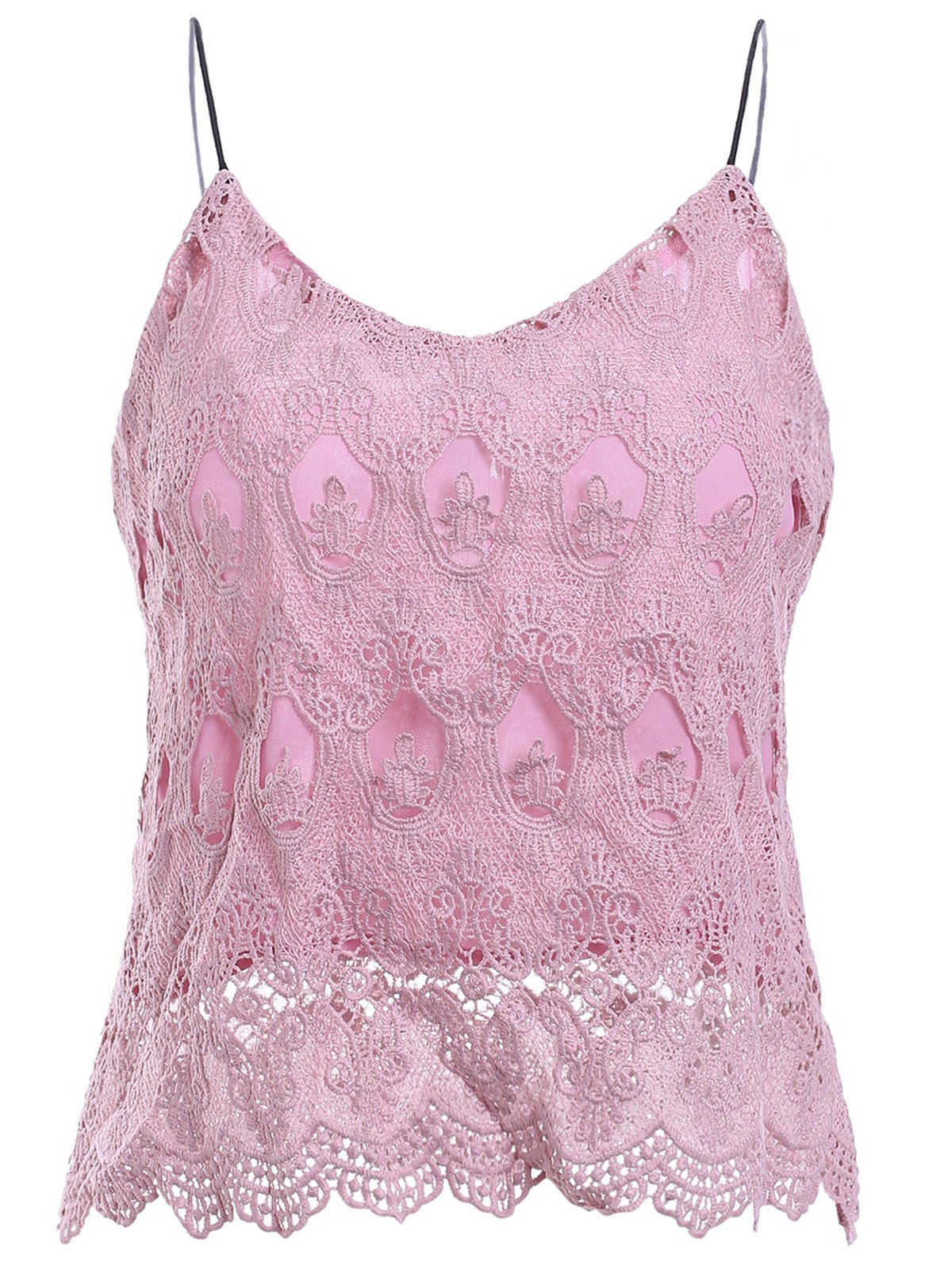 Fashionable Women's V-Neck Spaghetti Strap Lace Top - PINK ONE SIZE(FIT SIZE XS TO M)