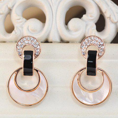Pair of Simple Rhinestone Shell Moon Earrings For Women