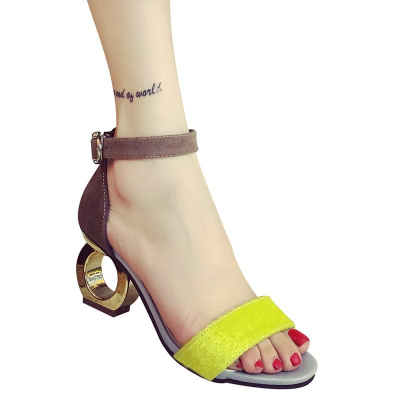 Trendy Color Block and Strange Heel Design Women's Sandals - YELLOW 39
