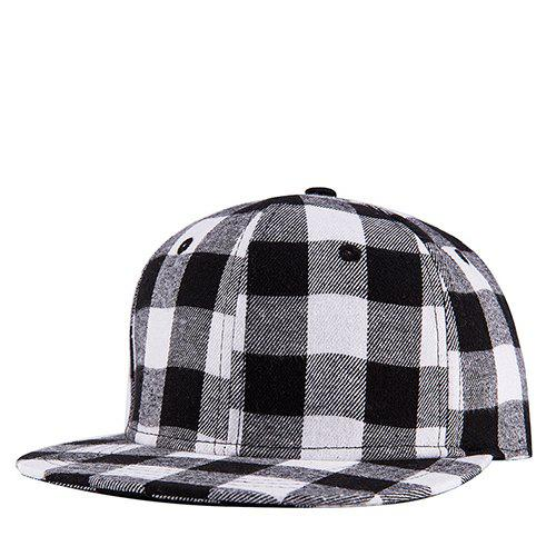 Stylish Black and White Tartan Pattern Street Snap Style Baseball Cap - WHITE/BLACK