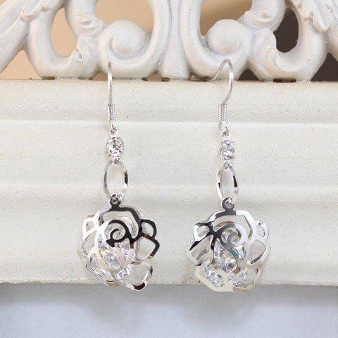 Pair of Hollow Out Rhinestone Rose Drop Earrings - SILVER