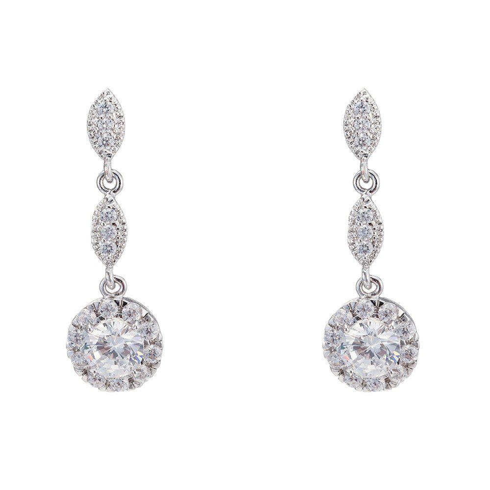 Pair of Round Rhinestone Embellished Earrings - SILVER