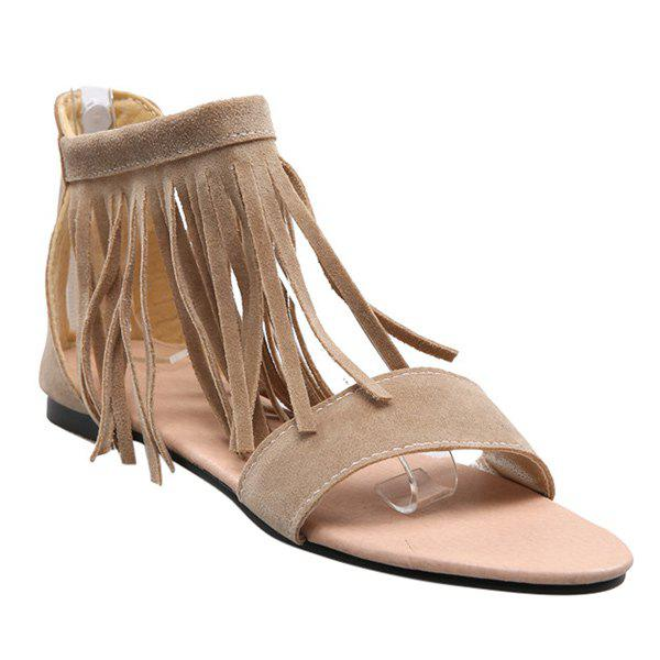 Simple Suede and Fringe Design Women's Sandals - APRICOT 38