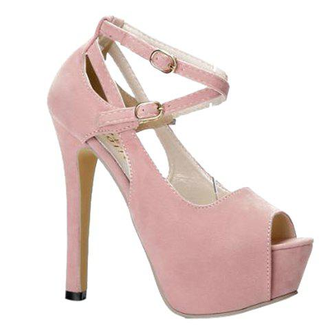 Party Suede and Stiletto Heel Design Women's Peep Toe Shoes - PINK 36